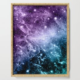 Purple Teal Galaxy Nebula Dream #4 #decor #art #society6 Serving Tray