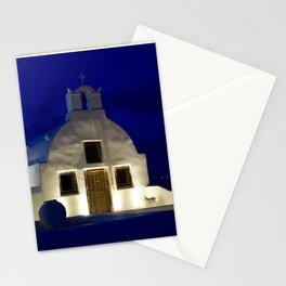 Santorini Chapel During Sunrise  Stationery Cards