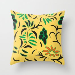 pattern with flowers and butterflies Throw Pillow