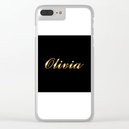 Name of a girl Olivia in golden letters Clear iPhone Case