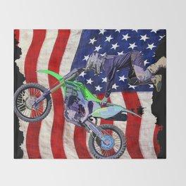 High Flying Freestyle Motocross Rider & US Flag Throw Blanket