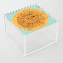 Sun Drawing Gold and Blue Acrylic Box