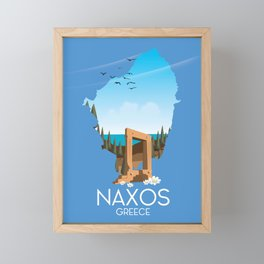 Naxos Greek travel poster. Framed Mini Art Print