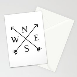 Black and White Compass Stationery Cards