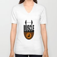 muscle V-neck T-shirts featuring MUSCLE II by Robleedesigns