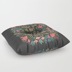 Little & Fierce on Charcoal Floor Pillow