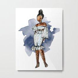 Birthday Slay (Blue Splash Background) Metal Print