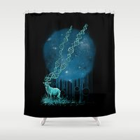 dna Shower Curtains featuring DNA Deer by Jorge Garza