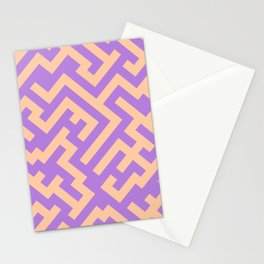 Deep Peach Orange and Lavender Violet Diagonal Labyrinth Stationery Cards