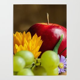 An autumn gifts still life on the blurred background Poster