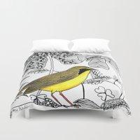 kentucky Duvet Covers featuring Kentucky Warbler by Art by Peleegirl