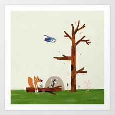 Owl flies by Fox and Mouse on a log in the woods Art Print
