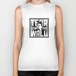 AMERICA : Ronald Regan : Tear Down This Wall Biker Tank