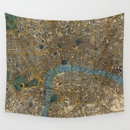 Vintage Map of London England (1860) Wall Tapestry