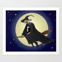 Old witch and hers black cat flying on a broom. Halloween illustration. Art Print