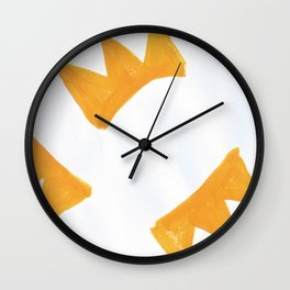 The Crown of Basquiat, Abstract, Selective Yellow Wall Clock