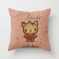 randy c Throw Pillows featuring Randy the Dirty Boar by Squid&Pig