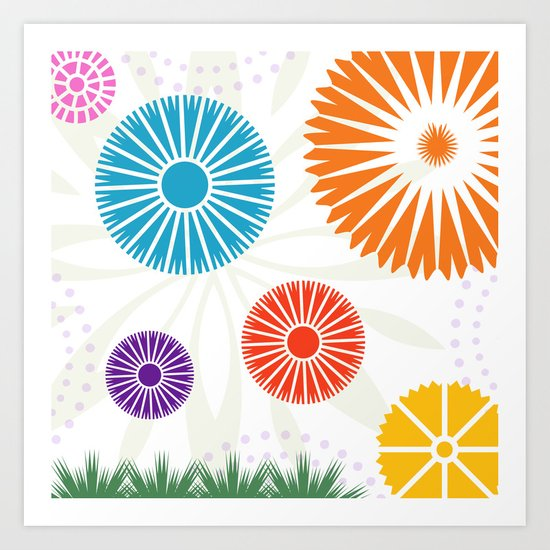Spring Retro Flowers Art Print