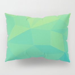 Abstract Geometric Gradient Pattern between Soft Green and Strong Cyan Pillow Sham