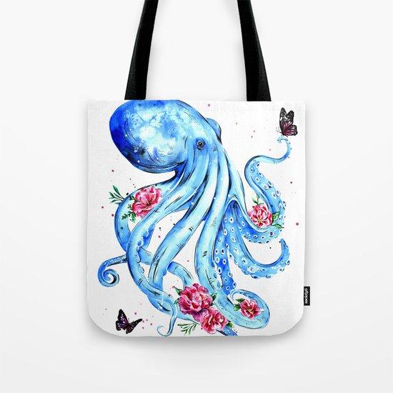 Floral Octopus Tote Bag