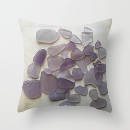 Genuine Purple Sea Glass Collection Throw Pillow