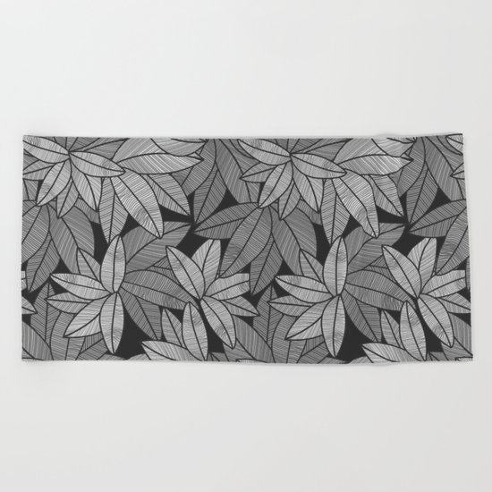 Black & White Leaves By Everett Co Beach Towel