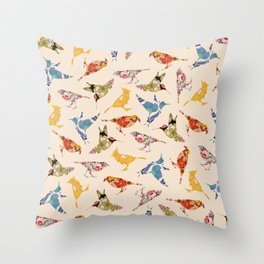 Vintage Wallpaper Birds Throw Pillow