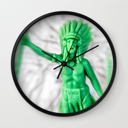 Native american indian green plastic toy battle confrontation Wall Clock