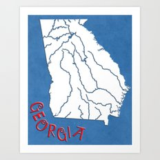 Georgia State Map Art Print