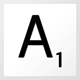 Letter A - Custom Scrabble Letter Wall Art - Scrabble A Art Print