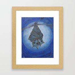 bat mom with baby in the blue full moon light Framed Art Print