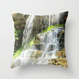 Misty Fountain Waterfall Throw Pillow