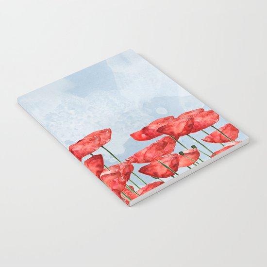 Poppyfield poppies poppy blue sky- watercolor artwork Notebook