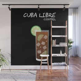 Cuba Libre cocktail drink on black background high definition illustration Wall Mural