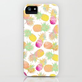 Tropical neon pink teal watercolor faux gold glitter pineapple iPhone Case