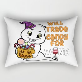 ghosty Halloween Trick or Treat Wine Ghost Present Gift Rectangular Pillow