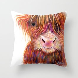 Scottish Highland Cow PRiNT ' THe KiD 2 ' by Shirley MacArthur Throw Pillow
