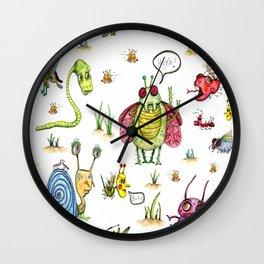 whimsical bug watercolor Wall Clock