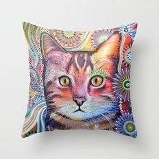 Olivia ... abstract cat art Throw Pillow