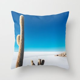 Cactus on Isla Incahuasi, Salt Flats, Bolivia Throw Pillow