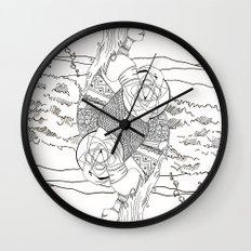 The Queen (Twins) - Black/White Wall Clock
