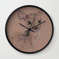 fawn Wall Clocks featuring Fawn by Fruzsina Kuhari