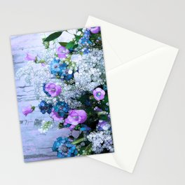 Flowers, Pink, Lilac, Teal Stationery Cards