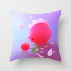 Sakura Dino Throw Pillow