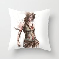 lara croft Throw Pillows featuring Lara by Alonzo Canto