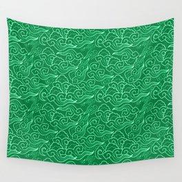 Vintage Japanese Clouds, Jade Green Wall Tapestry