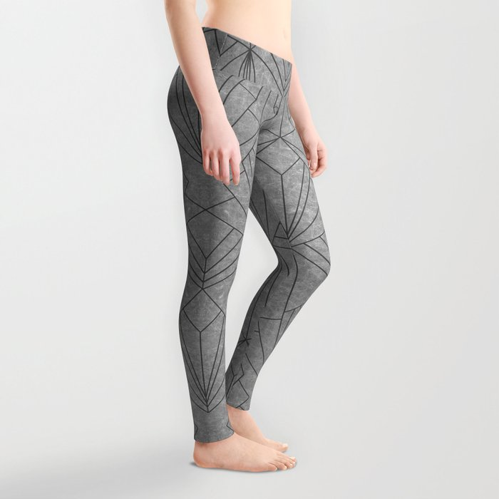 Art Deco in Black & Grey - Large Scale Leggings