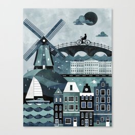 Amsterdam Travel Poster Canvas Print