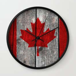 Canada flag on heavily textured woodgrain Wall Clock
