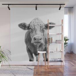 Highland Cow Portrait | Animal Photography | Black and White | Art Print Minimalism | Farm Animal Wall Mural